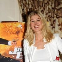 Rosamund Pike at a photocall for the release of Johnny English Reborn